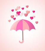 Paper hearts and umbrella
