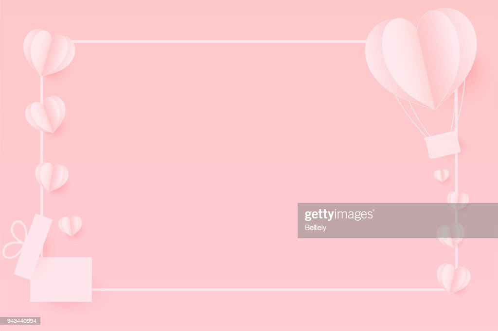 Paper Hearts out of the gift box with copy space . Paper Heart flying on pink background. Vector Illustration, Mother's Day, Valentine's Day