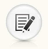 Paper icon on white round vector button