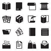 Paper Icons. Black Flat Design. Vector Illustration.