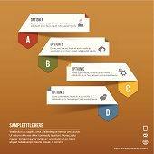 Paper Infographic tabs of four options on brown paper background