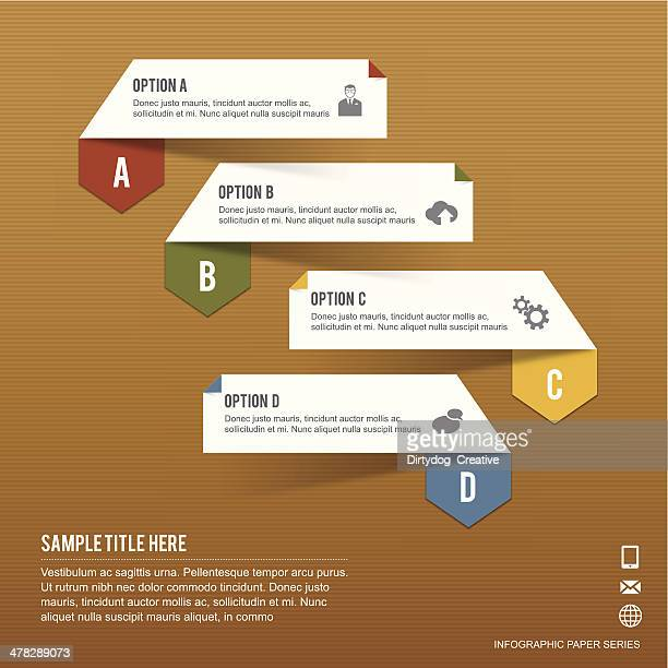 paper infographic tabs of four options on brown paper background - folded stock illustrations