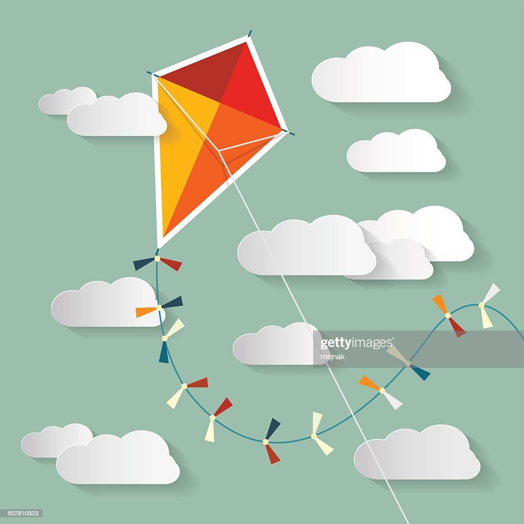 Paper Kite on Sky with Clouds