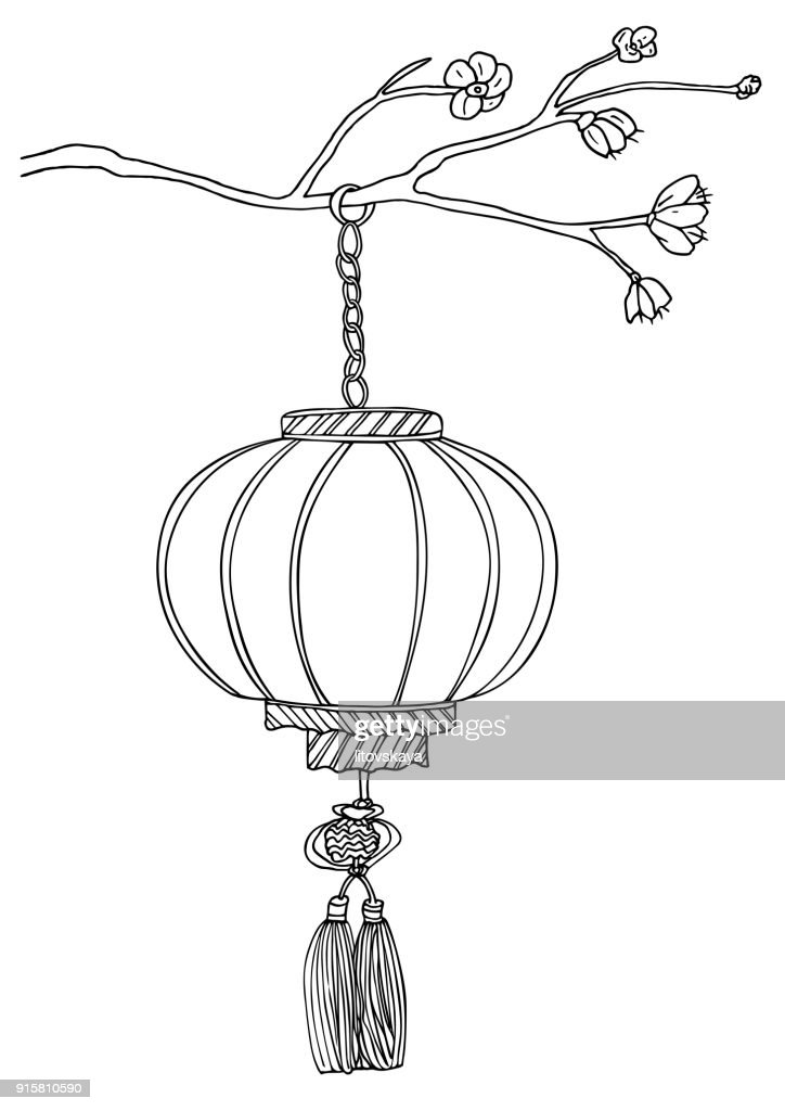 Paper lantern hanging on a branch of blossoming sakura with flowers. Hand drawn vector sketch illustration.