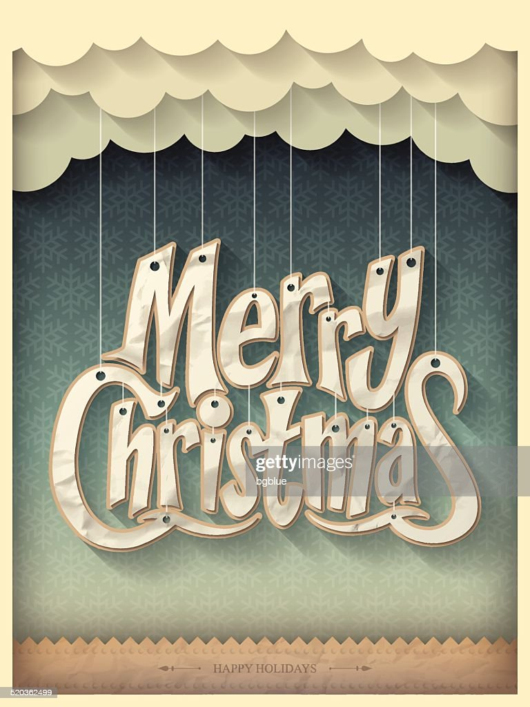 Paper Merry Christmas on Vintage Christmas Background