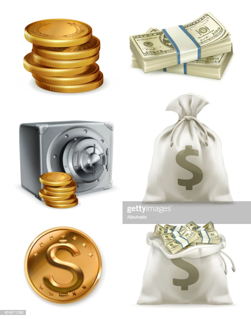 Paper money and gold coin, moneybag. 3d vector icon set