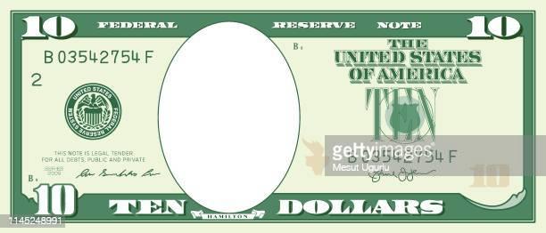 paper money frame. zehn-dollar-rechnung - 10 dollar schein us dollar geldschein stock-grafiken, -clipart, -cartoons und -symbole