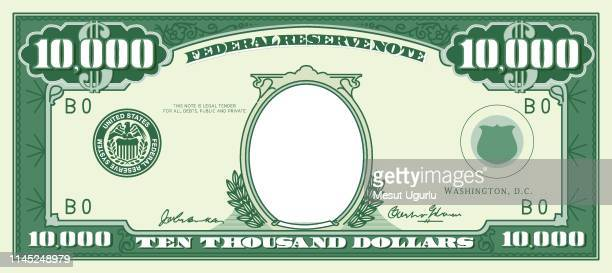 paper money frame. ten thousand dollar - us paper currency stock illustrations, clip art, cartoons, & icons