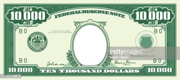 紙幣フレーム。1万ドル - ドル記号点のイラスト素材/クリップアート素材/マンガ素材/アイコン素材