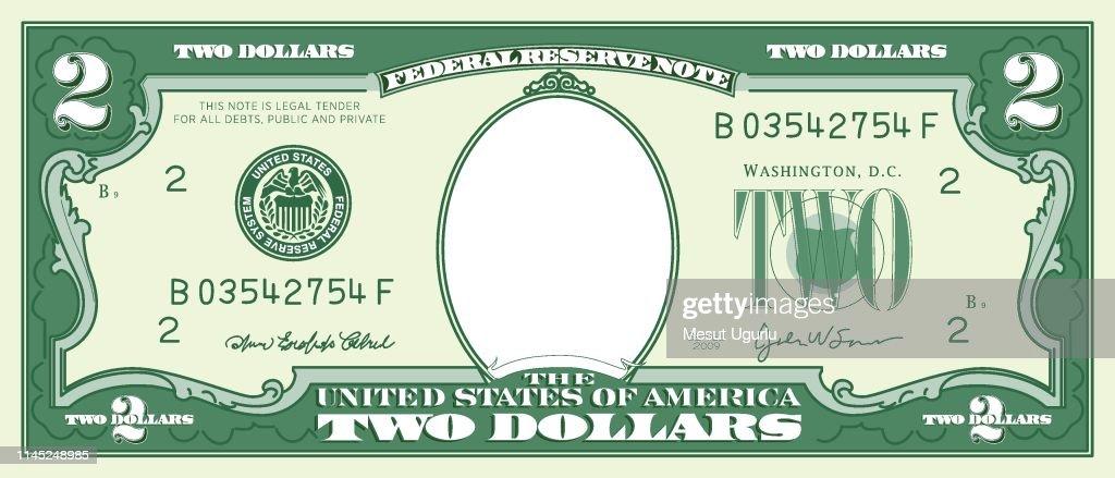 Paper Money Frame Two Dollar Bill stock illustration - Getty