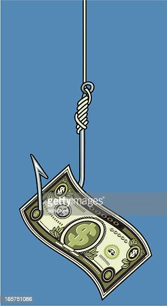 paper money on fishing hook - cash flow stock illustrations, clip art, cartoons, & icons