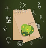 Paper note with Ecology and environment Icons. Vector illustrati