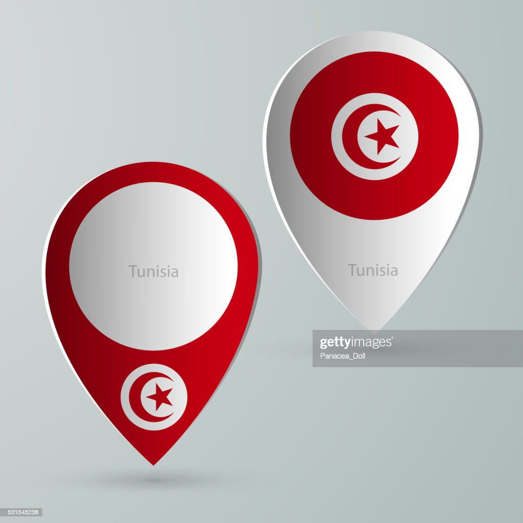 paper of map marker for maps tunisia