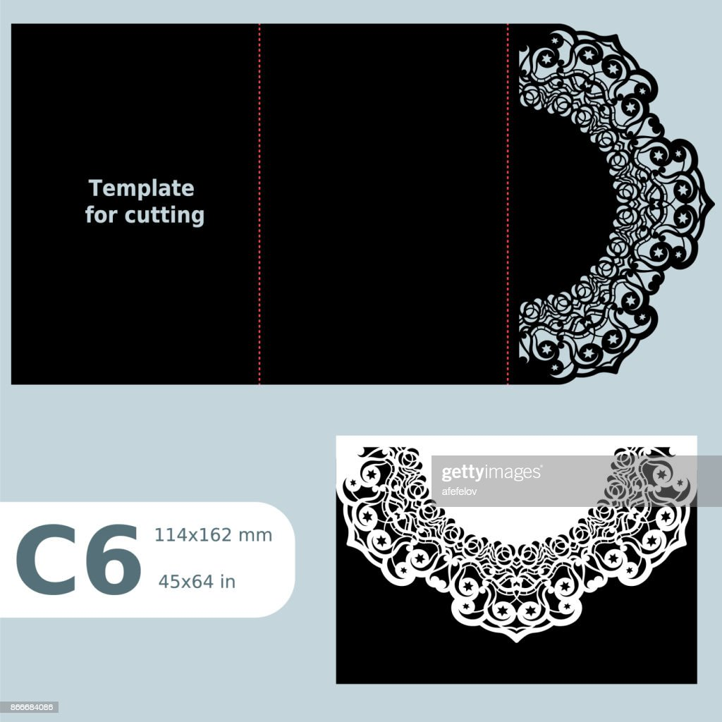 C6 paper openwork greeting card,  wedding invitation,  lace invitation, card with fold lines, object isolated background, laser cut template, vector illustration