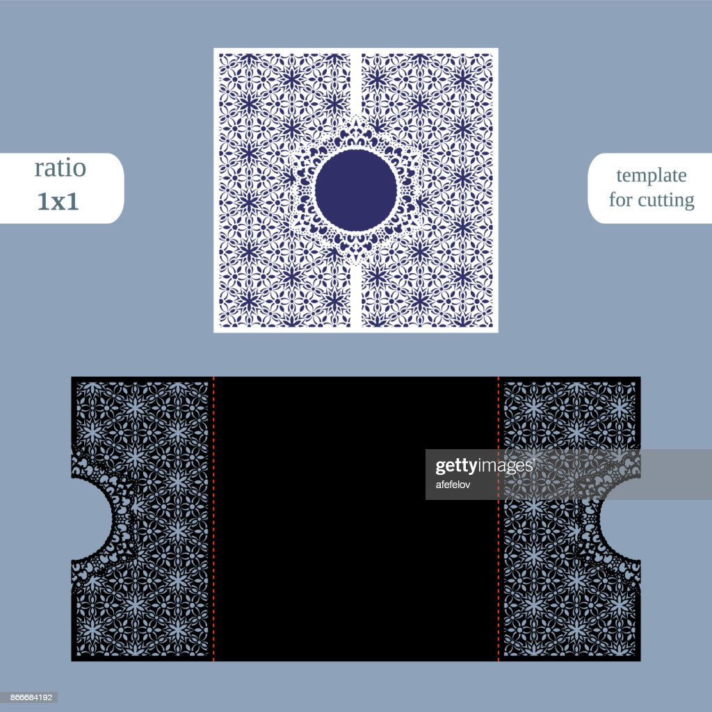 Paper openwork  square  greeting card, wedding invitation, template for cutting, lace imitation, cut on plotter, metal plate cut by laser,  vector illustration