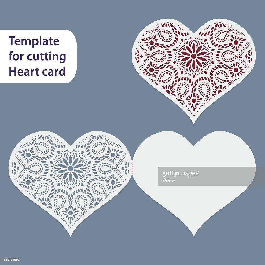 Paper Openwork Wedding Card Heart Shape Template For Cutting Vector