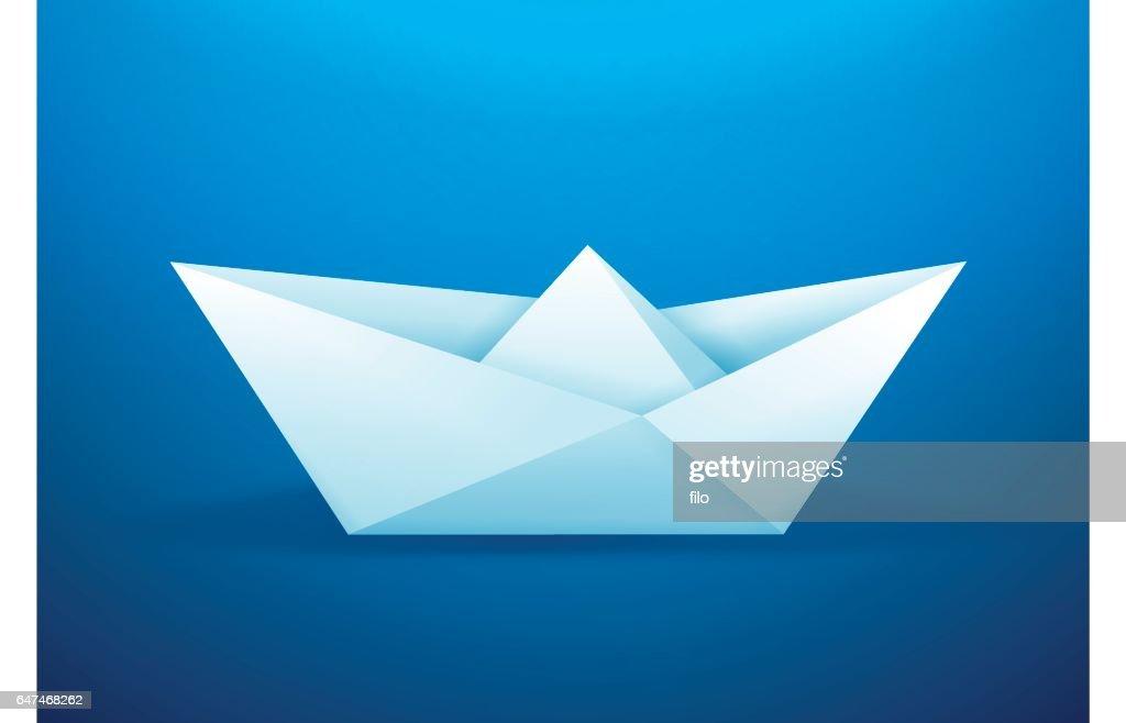 Paper Origami Boat Vector Art