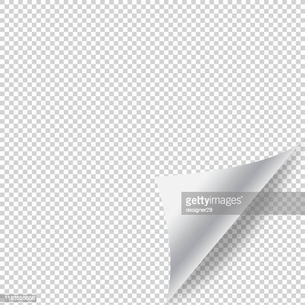 paper page curl with shadow and transparent background vector design. - folded stock illustrations
