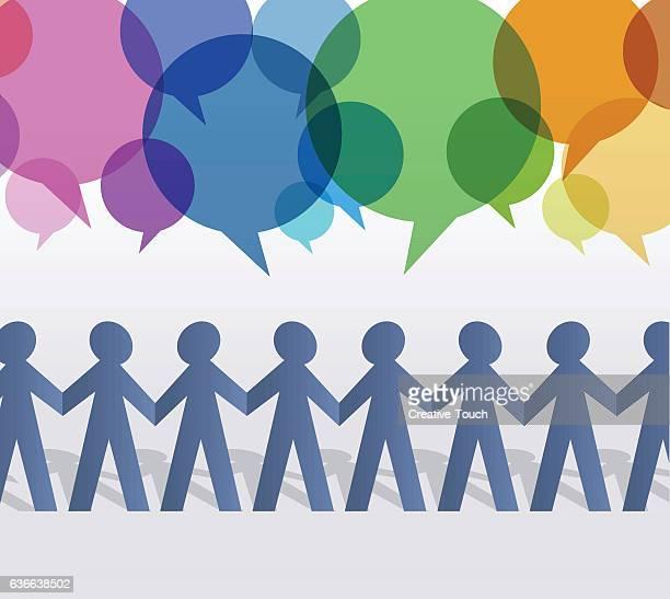 紙のスピーチの泡と人々のチェーン - 紙人形点のイラスト素材/クリップアート素材/マンガ素材/アイコン素材