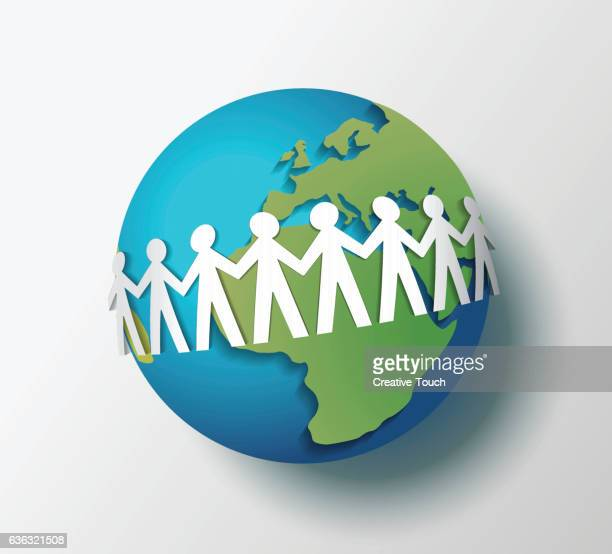 paper people chain on the globe - holding hands stock illustrations