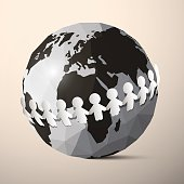 Paper People Holding Hands around Globe