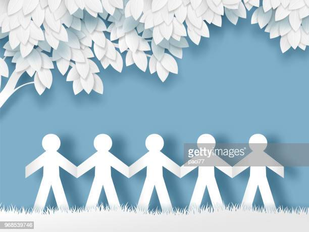 paper people holding hands - craft product stock illustrations