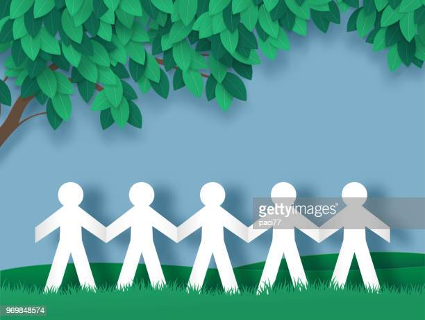 paper people holding hands - paper craft stock illustrations