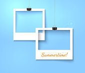 Paper photo frames composition. Vector template with bright blue background
