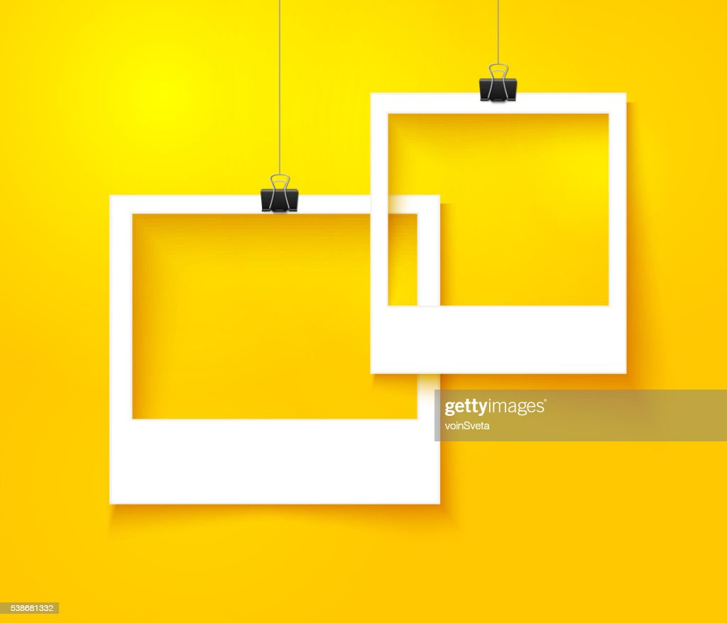 Paper photo frames composition. Vector template with bright orange background