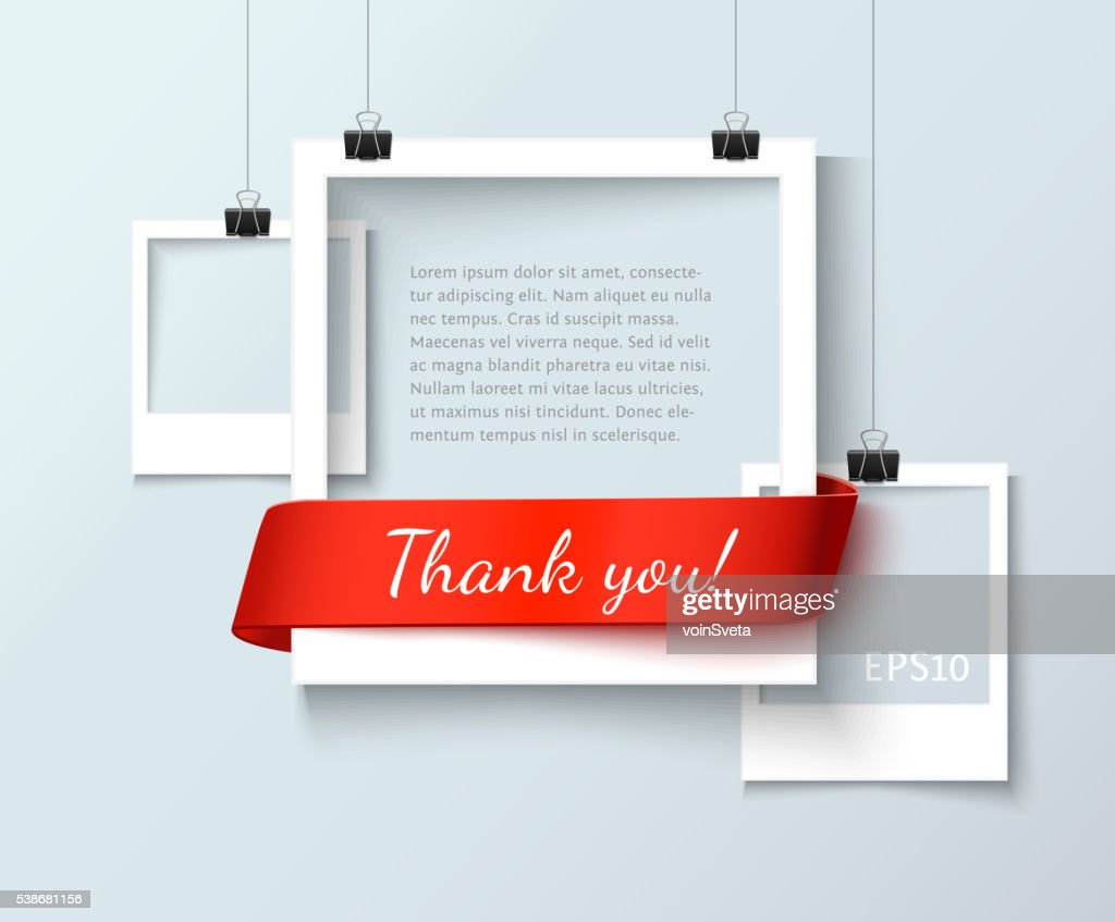 Paper photo frames composition. Vector template with red ribbon for