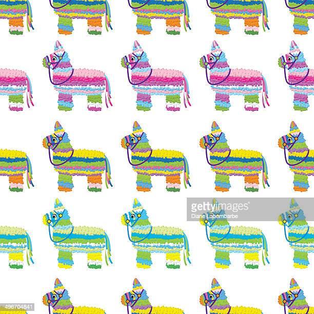 ilustrações, clipart, desenhos animados e ícones de piñata sem costura padrão em papel - pinata