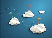 Paper plane and low polygonal clouds on blue sky. Infographics