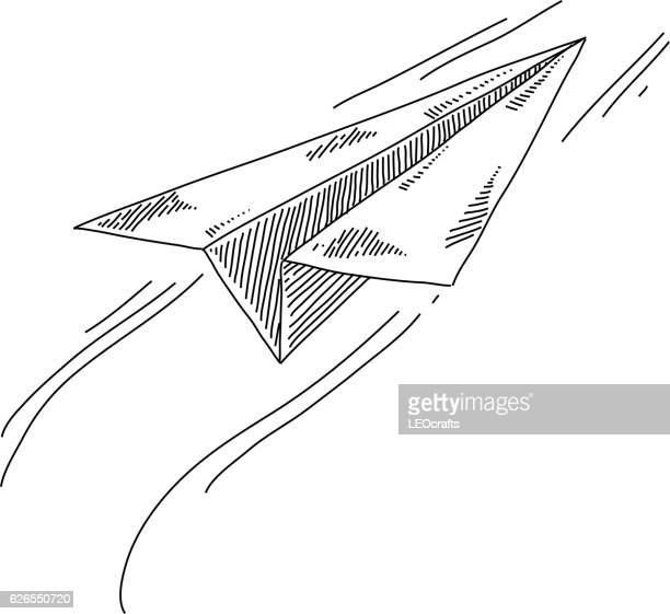 paper plane drawing - paper airplane stock illustrations, clip art, cartoons, & icons
