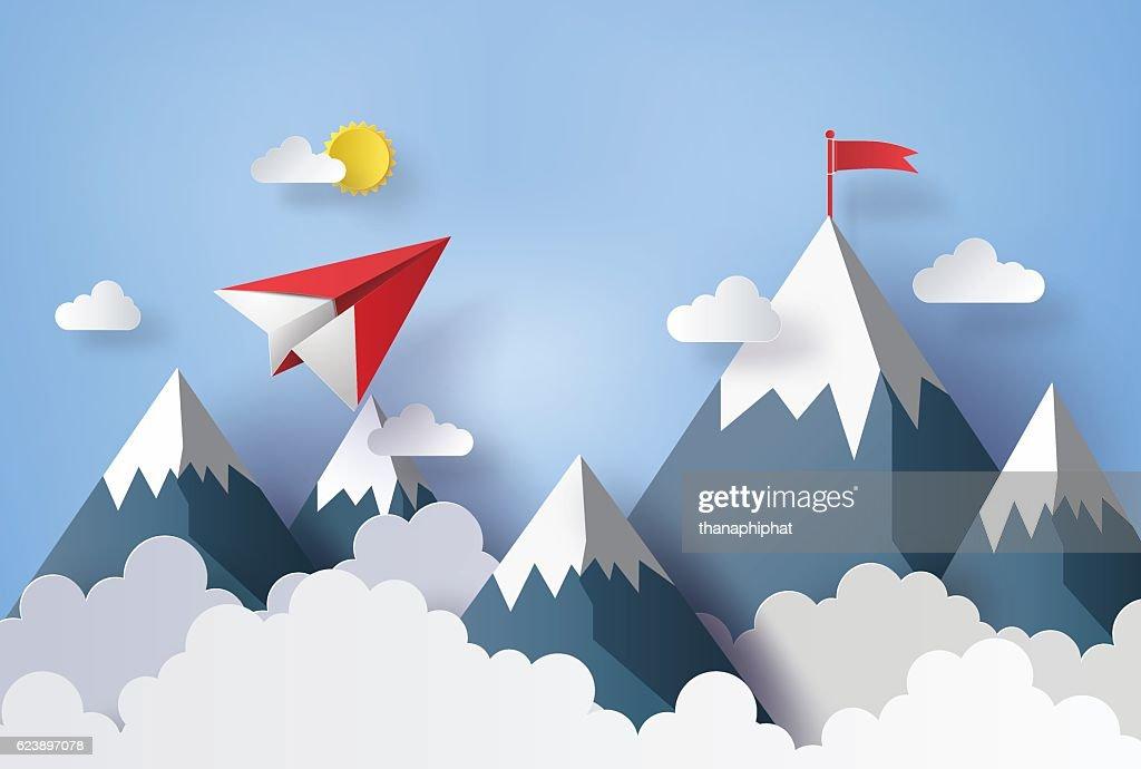 paper plane flying on sky.