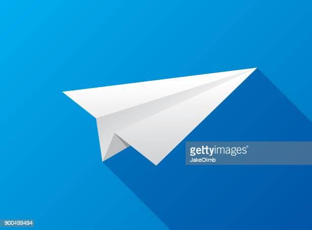 ilustraciones, imágenes clip art, dibujos animados e iconos de stock de icono de avión de papel plana - avion