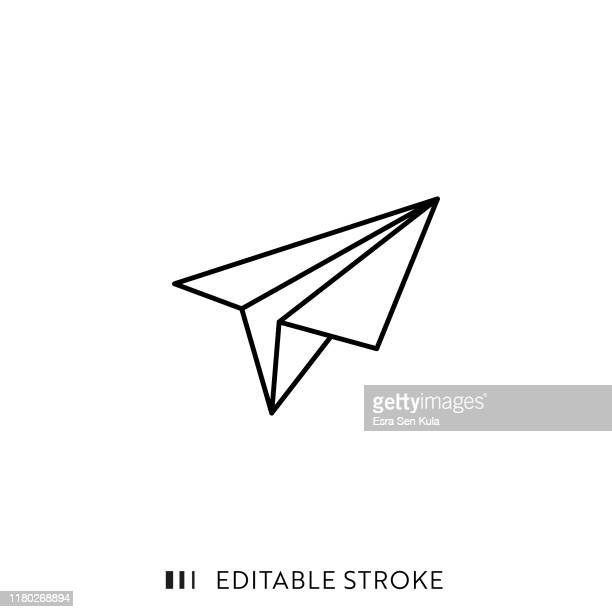 paper plane icon with editable stroke and pixel perfect. - origami stock illustrations