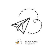 Paper plane thin line icon. Vector flat illustration