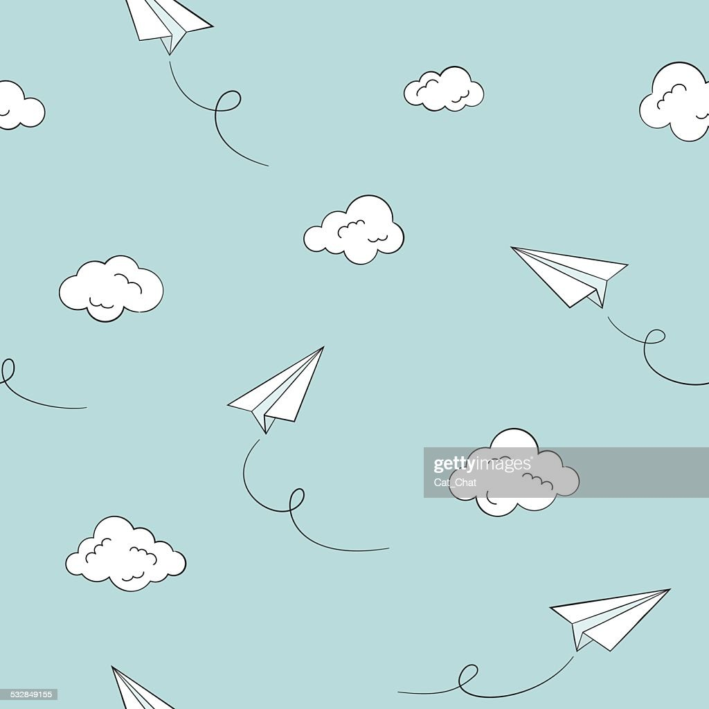 Paper planes seamless background