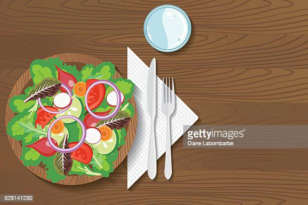 paper plate of food on a wood background - glazed food stock illustrations, clip art, cartoons, & icons