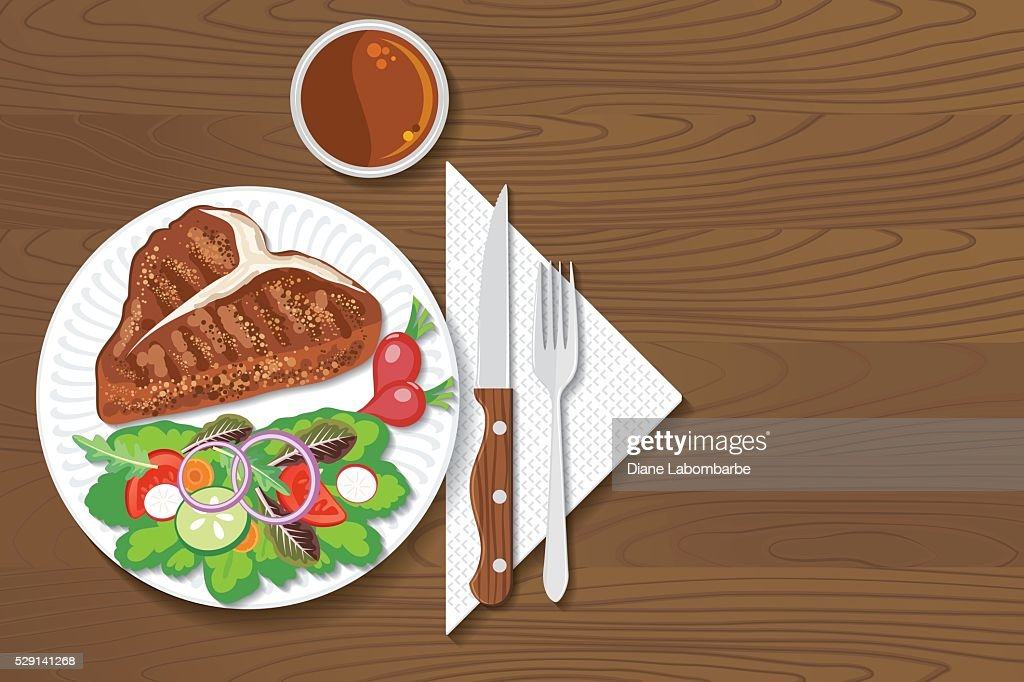 Paper Plate Of Food On A Wood Background : stock illustration