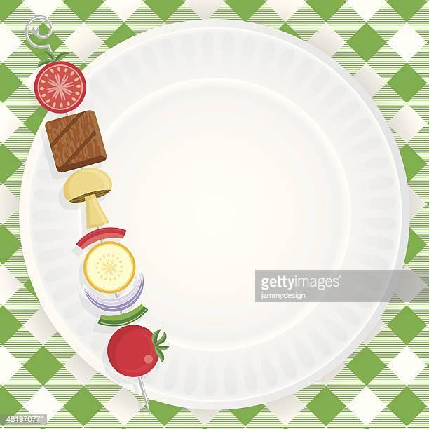 paper plate picnic invitation - tablecloth stock illustrations, clip art, cartoons, & icons