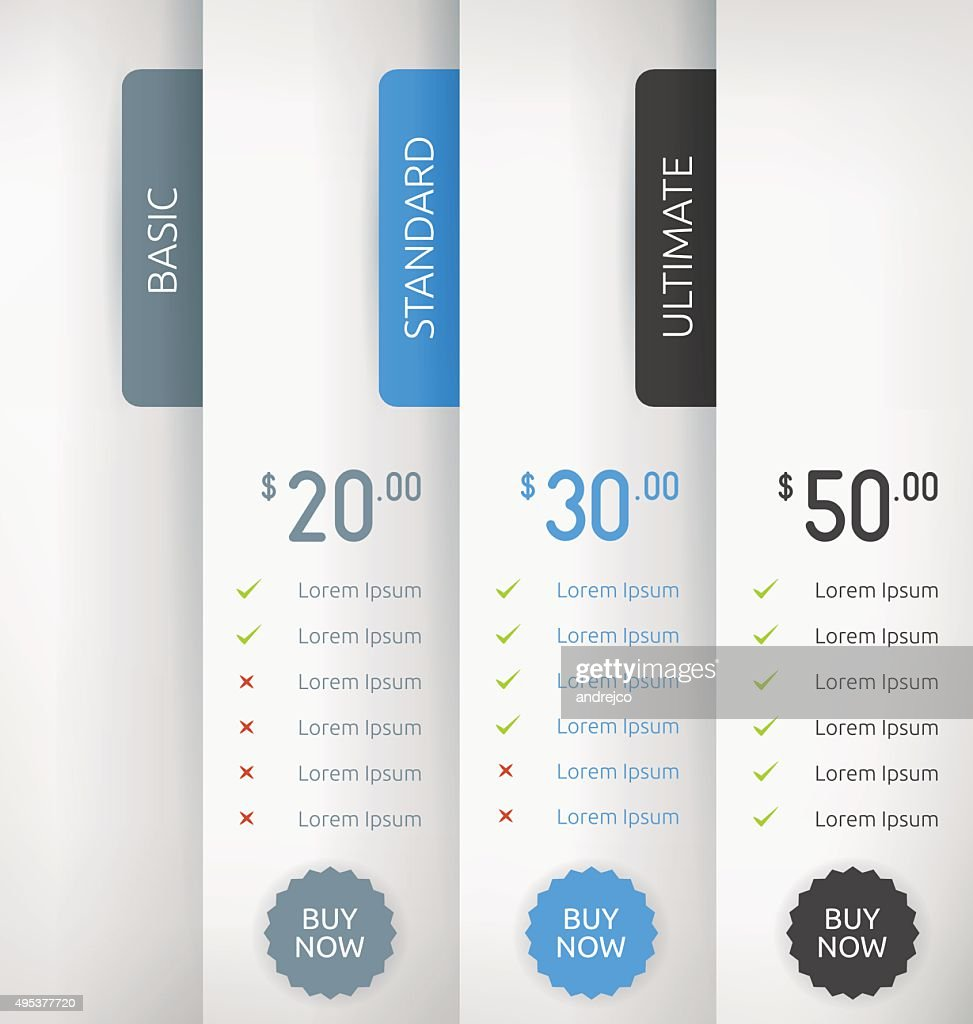 Paper Pricing Tables Vector Template Design