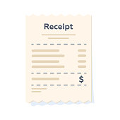 Paper receipt in a flat style isolated. Vector illustration.