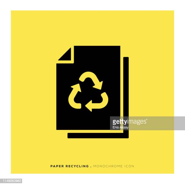paper recycling monochrome icon - paperboard stock illustrations