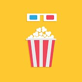3D paper red blue glasses and big popcorn box. Cinema movie icon in flat dsign style. Yellow background.