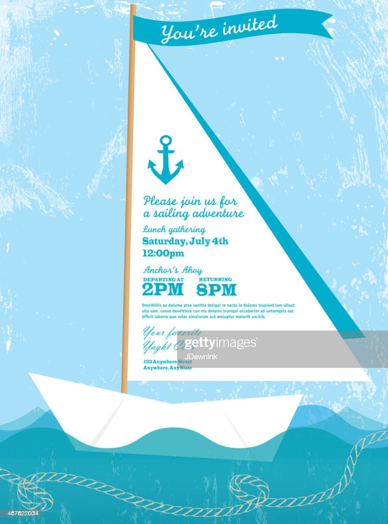 Paper Sailboat Sailing And Yahting Invitation Design Template Vector Art