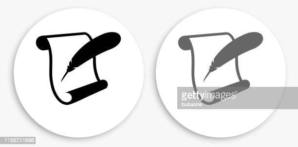 紙のスクロールとフェザークイル黒と白の丸いアイコン - スクロール点のイラスト素材/クリップアート素材/マンガ素材/アイコン素材