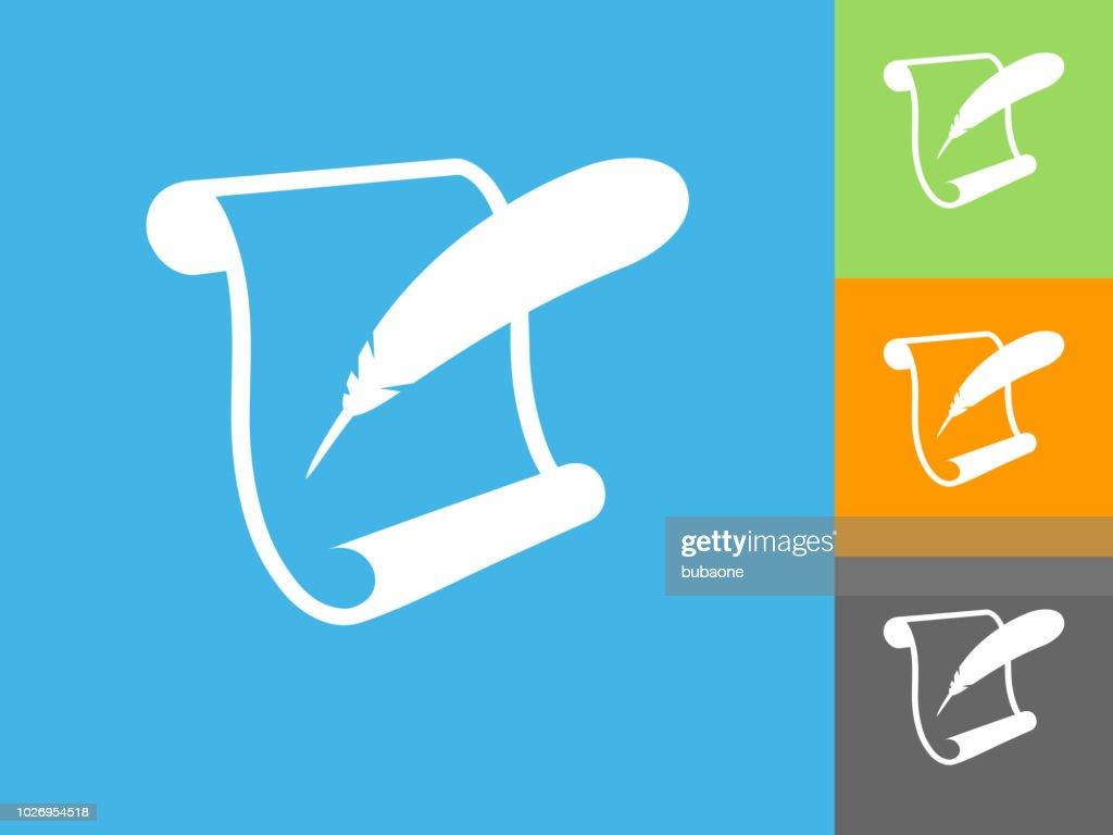 青色の背景のスクロール紙と羽根ペン フラット アイコン ベクトルアート