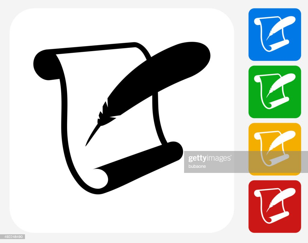 Paper Scroll and Feather Quill Icon Flat Graphic Design