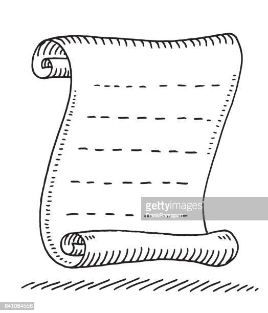 paper scroll blank lines drawing - paper scroll stock illustrations, clip art, cartoons, & icons